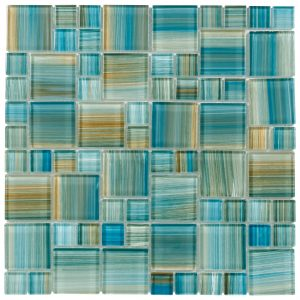 Aquamarine Brush Mixed (Artistic Brush Series) Glass Pool Tile