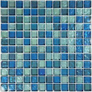 Blue Blend 1″ x 1″ (Galaxy Series) Glass Pool Tile