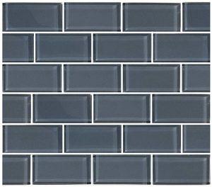 Blue Gray 2″ x 4″ (Subway Series) Glass Pool Tile