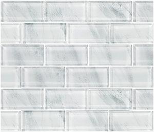 Stratus White 2″ x 4″ (Subway Series) Glass Pool Tile