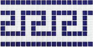 Blue White 5/8″ x 5/8″ (Greek Key Series) Glass Pool Tile