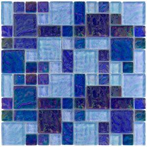 Blue Blend Mixed (Iridescent Series) Glass Pool Tile