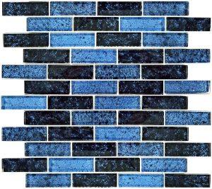 Azure Black 1″ x 3″ (Nightfall Series) Glass Pool Tile