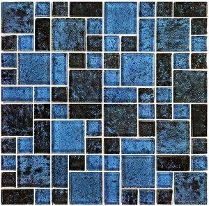 Azure Black Mixed (Nightfall Series) Glass Pool Tile