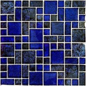 Azure Cobalt Black Mixed (Nightfall Series) Glass Pool Tile