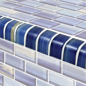 Trim Blue 1″ x 2″ (Watercolors Series) Glass Pool Tile