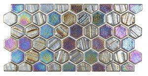 Black 1″ x 1″ Waterline Trim Hex (Illusions Series) Glass Pool Tile