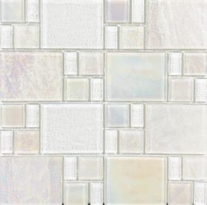 White Random (Piazza Series) Glass Pool Tile