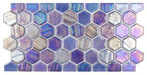 Blue 1″ x 1″ Waterline Trim Hex (Illusions Series) Glass Pool Tile