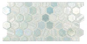 Green 1″ x 1″ Waterline Trim Hex (Illusions Series) Glass Pool Tile