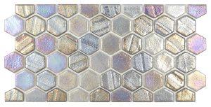 Grey 1″ x 1″ Waterline Trim Hex (Illusions Series) Glass Pool Tile