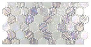 Silver 1″ x 1″ Waterline Trim Hex (Illusions Series) Glass Pool Tile