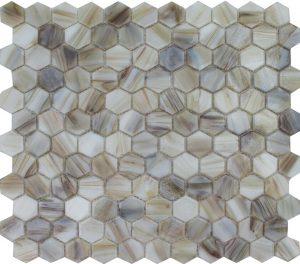 "Agate 1"" x 1"" Hex (Aurora Series) Glass Pool Tile"