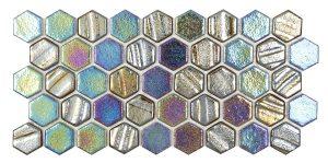 Black 1″ x 1″ Hex (Illusions Series) Glass Pool Tile