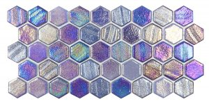 Blue 1″ x 1″ Hex (Illusions Series) Glass Pool Tile