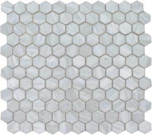 "Pearl 1"" x 1"" Hex (Aurora Series) Glass Pool Tile"