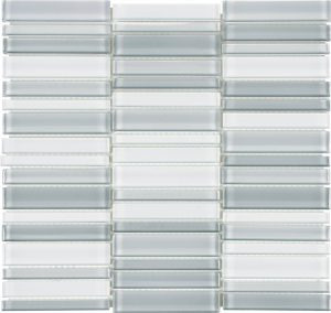 Shades of Grey Blend 1.4″ x 6″ (Element Series) Glass Pool Tile