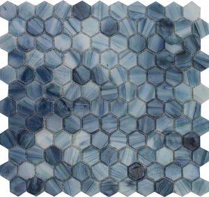 "Tanzanite 1"" x 1"" Hex (Aurora Series) Glass Pool Tile"