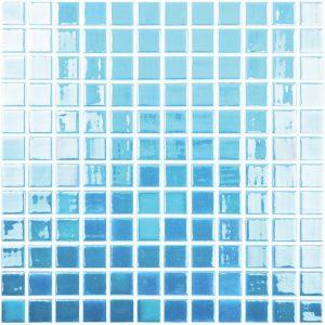 Blue / Green 1″ x 1″ (Glow Glass Series) Glass Pool Tile