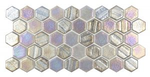 Grey 1″ x 1″ Hex (Illusions Series) Glass Pool Tile