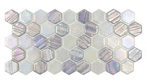 Silver 1″ x 1″ Hex (Illusions Series) Glass Pool Tile