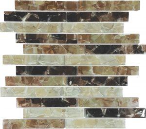 Browns Blend 1″ x 6″ (Flower Glass Series) Glass Pool Tile