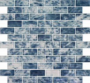 Ocean 1″ x 2″ (Rain Series) Glass Pool Tile