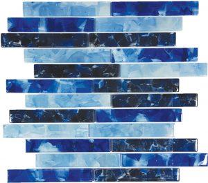 Blues Blend 1″ x 6″ (Flower Glass Series) Glass Pool Tile