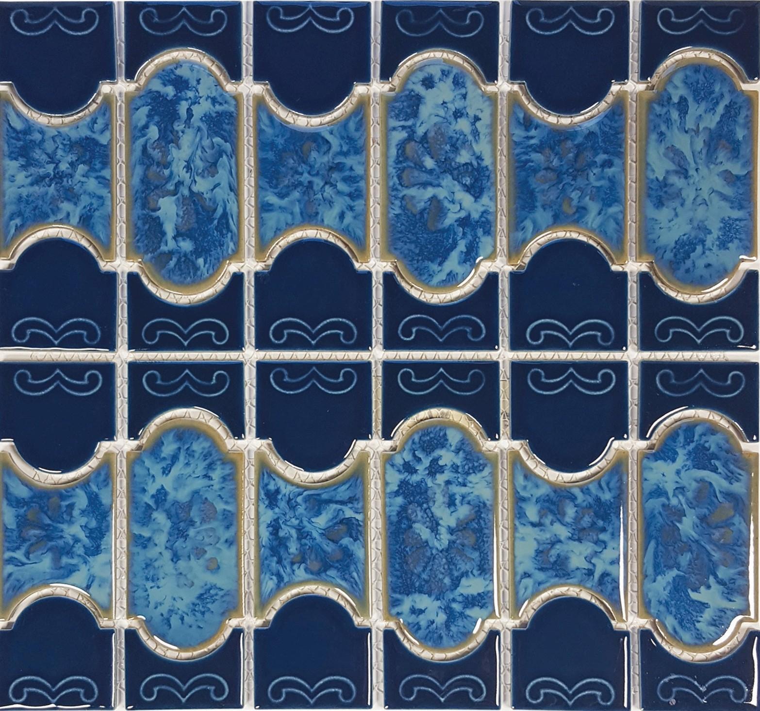 Caribbean Blue Mosaic (Botanical Series) Porcelain Pool Tile