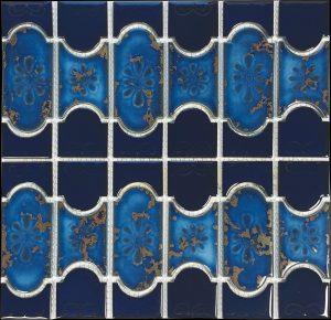 Cobalt with Terra Mosaic (Botanical Series) Porcelain Pool Tile