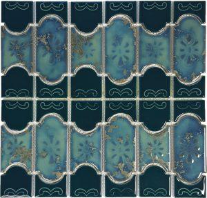 Teal Green Mosaic (Botanical Series) Porcelain Pool Tile