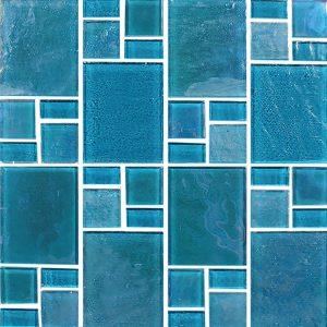 Turquoise Random (Piazza Series) Glass Pool Tile