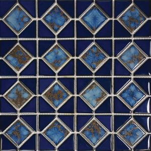 Terra Blue Mosaic (Mini Akron Series) Porcelain Pool Tile