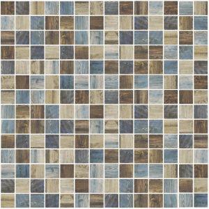 Oak Indigo 1″ x 1″ (Woodland Series) Glass Pool Tile